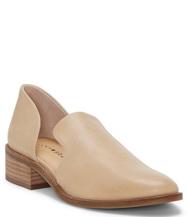 ラッキーブランド レディース スリッポン・ローファー シューズ Gennifa Leather Open Side Stacked Heel Loafers Stone