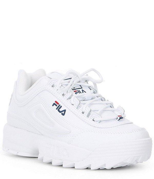 フィラ レディース ドレスシューズ シューズ Women's Disruptor II Premium Leather Lace-Up Sneaker White/FILA Navy/FILA Red