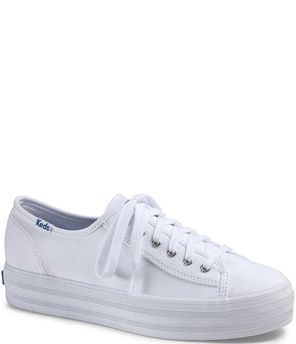 ケッズ レディース ドレスシューズ シューズ Triple Kick Core Canvas Platform Lace-Up Sneakers White