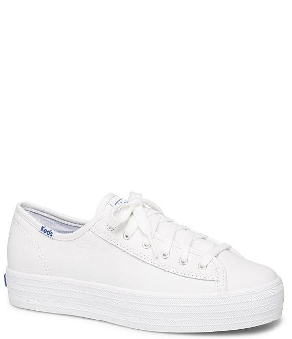 ケッズ レディース ドレスシューズ シューズ Triple Kick Core Leather Platform Lace-Up Sneakers White