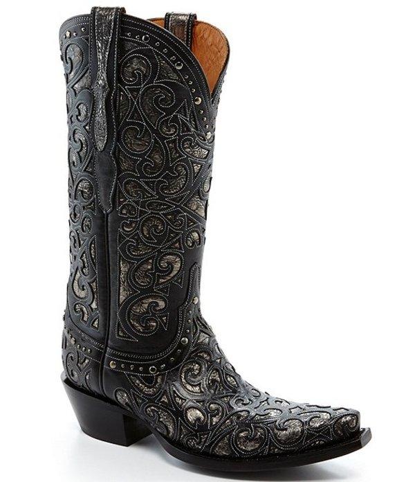 ルチーズ レディース ブーツ・レインブーツ シューズ Sierra Curly L Leather Studded Western Boots Black/Silver
