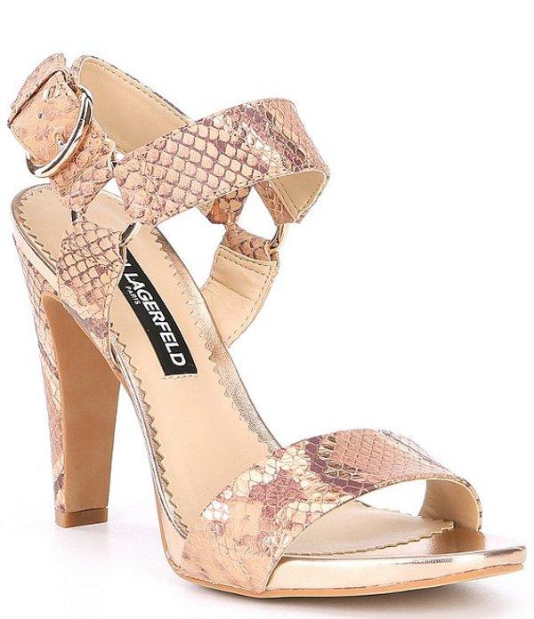 カール ラガーフェルド レディース サンダル シューズ Cieone Snake Print Leather Dress Sandals Nude/Rose Gold