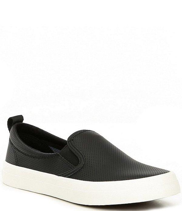 スペリー レディース スリッポン・ローファー シューズ Crest Twin Gore Mini Perforated Leather Slip-On Sneakers Black