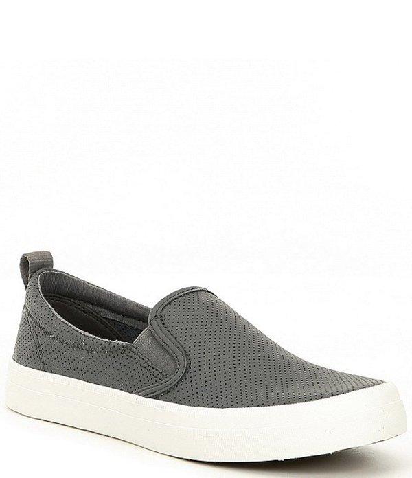 スペリー レディース スリッポン・ローファー シューズ Crest Twin Gore Mini Perforated Leather Slip-On Sneakers Grey