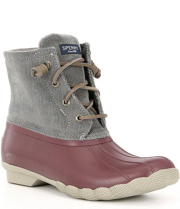 スペリー レディース ブーツ・レインブーツ シューズ Women's Saltwater Corduroy Winter Duck Boots Grey/Wine