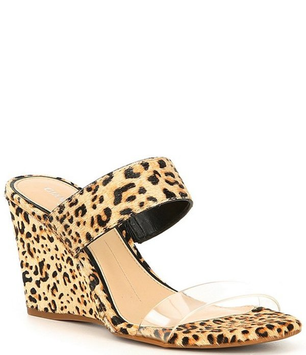 ジャンビニ レディース ヒール シューズ Wylinn Clear & Leopard Haircalf Strap Wedges Clear/Natural