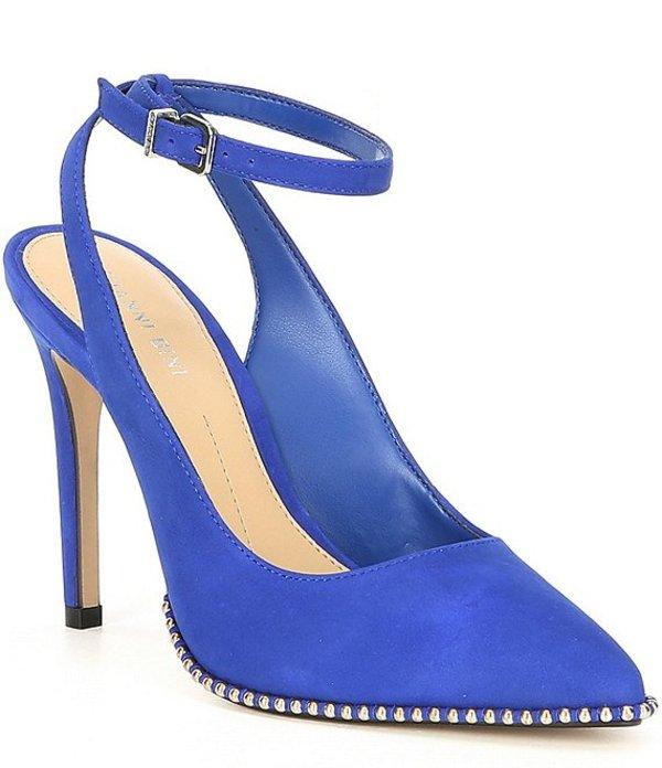 ジャンビニ レディース ヒール シューズ Renatay Nubuck And Stud Detail Ankle-Strap Pumps Electric Blue