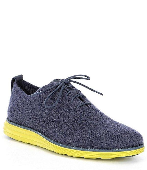 コールハーン メンズ ドレスシューズ シューズ Men's Original Grand Stitchlite Woven Knit Lace-Up Wingtip Oxfords Slate Blue