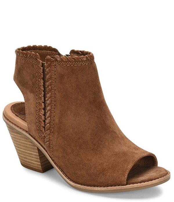 ソフト レディース ブーツ・レインブーツ シューズ Maleigha Whispstitch Suede Stacked Block Heel Shooties Brown
