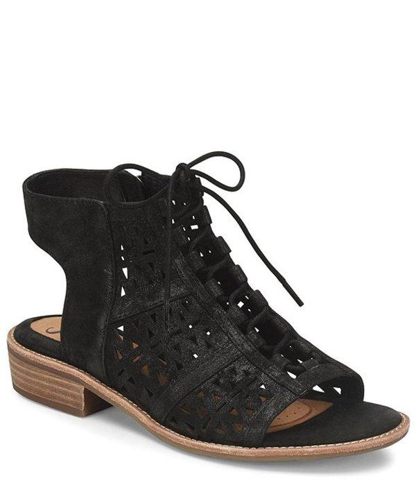 ソフト レディース サンダル シューズ Nora Geometric Perforated Suede Ghillie Sandals Black