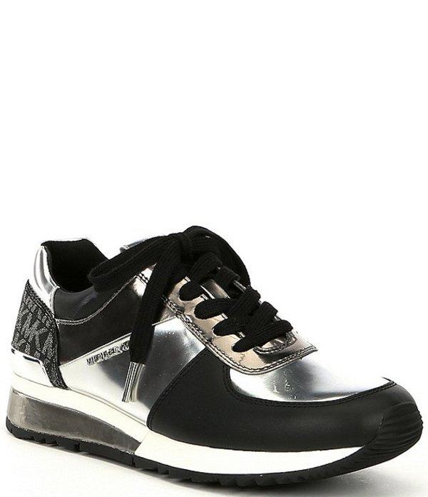 マイケルコース レディース ドレスシューズ シューズ Allie Wrap Metallic Leather Lace-Up Trainers Silver Multi