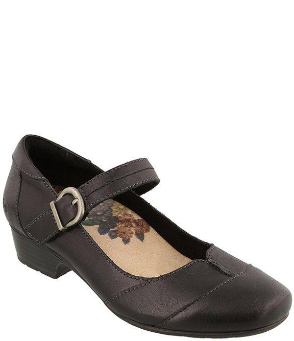 タオスフットウェア レディース ヒール シューズ Balance Leather Block Heel Mary Janes Black