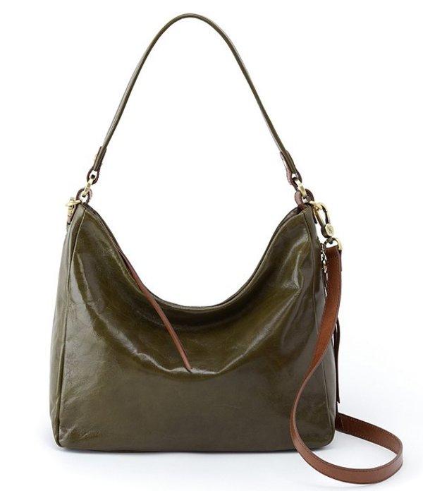 ホボ レディース ショルダーバッグ バッグ Delilah Shiny Leather Hobo Bag Mistletoe