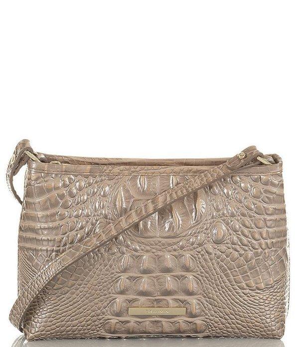 ブランミン レディース ショルダーバッグ バッグ Melbourne Collection Lorelei Crocodile-Embossed Shoulder Bag Moonscape