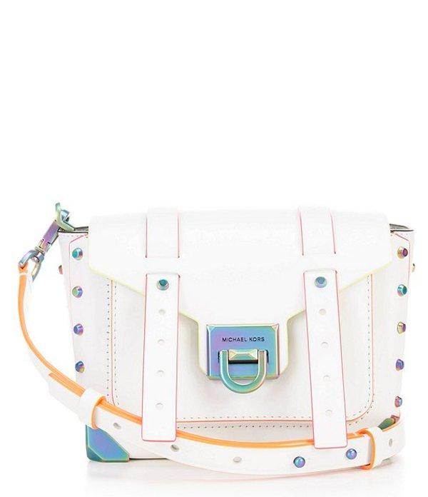 マイケルコース レディース ハンドバッグ バッグ Manhattan Small Leather Messenger Crossbody Bag Optic White