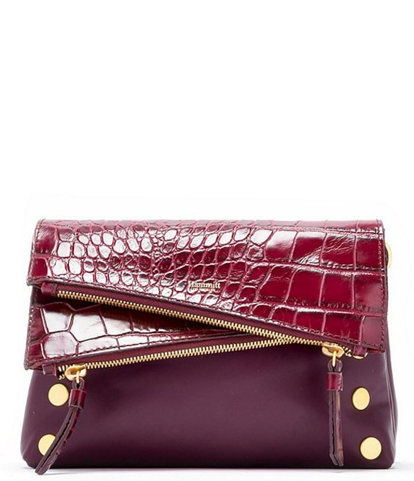 ハミット レディース ショルダーバッグ バッグ Dillon Small Foldover Leather Crocodile-Embossed Crossbody Bag Gondola