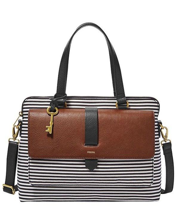 フォッシル レディース ハンドバッグ バッグ Kinley Stripe Satchel Bag Black Stripe