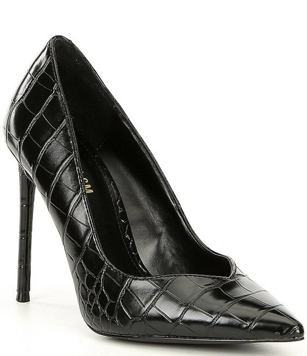 スティーブ マデン レディース ヒール シューズ Winnie Harlow x Steve Madden Princess Croc-Embossed Stiletto Pumps Black Croco