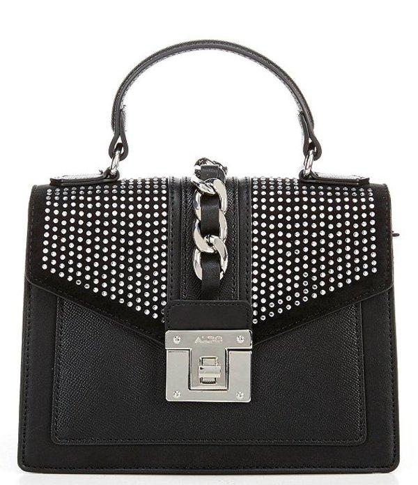 アルド レディース ハンドバッグ バッグ Somov Studded Leather Top Handle Satchel Bag Black