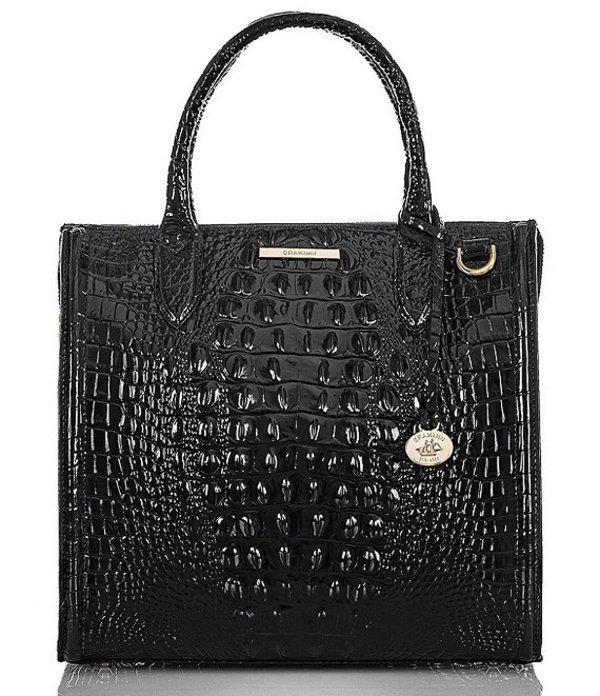 ブランミン レディース ハンドバッグ バッグ Melbourne Collection Caroline Crocodile-Embossed Satchel Bag Black