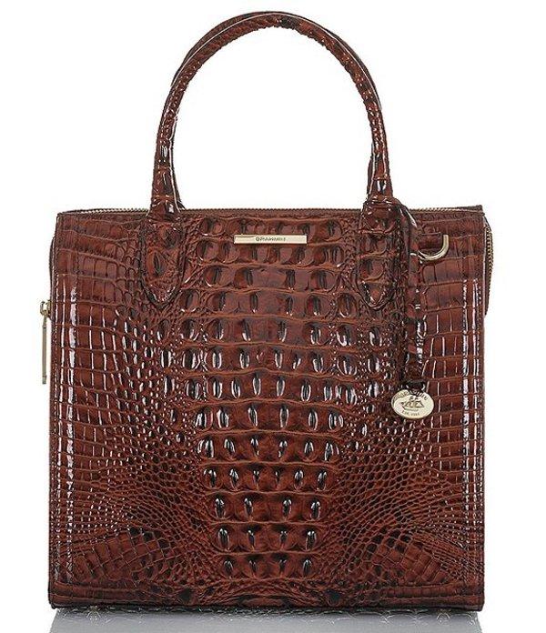 ブランミン レディース ハンドバッグ バッグ Melbourne Collection Caroline Crocodile-Embossed Satchel Bag Pecan