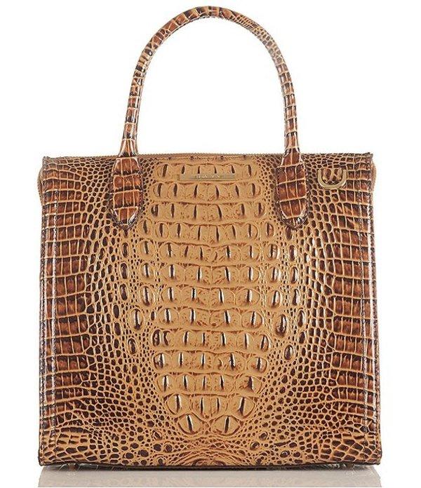 ブランミン レディース ハンドバッグ バッグ Melbourne Collection Caroline Crocodile-Embossed Satchel Bag Toasted