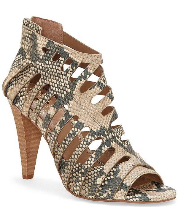 ヴィンスカムート レディース ブーツ・レインブーツ シューズ Amendia Snake Print Leather Cut-Out Stacked Cone Heel Shooties Natural