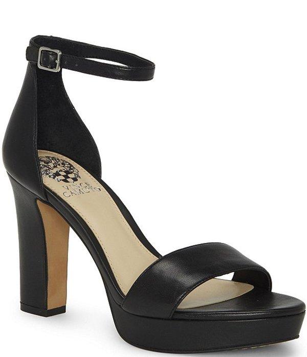 ヴィンスカムート レディース サンダル シューズ Sathina Leather Platform Block Heel Dress Sandals Black Leather