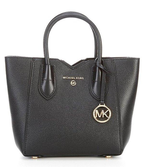 マイケルコース レディース ハンドバッグ バッグ Mae Leather Top Handle Small Messenger Crossbody Bag Black
