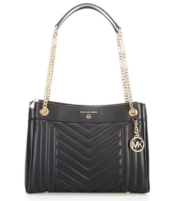 マイケルコース レディース ハンドバッグ バッグ Susan Medium Leather Zip Shoulder Bag Black