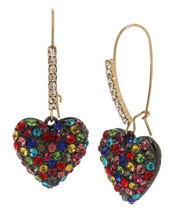 ベッツィジョンソン レディース ピアス・イヤリング アクセサリー Rainbow Stone Heart Long Drop Earrings Rainbow