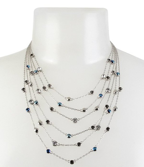 ケネスコール レディース ネックレス・チョーカー アクセサリー Mixed Stone Illusion Necklace Blue and Black