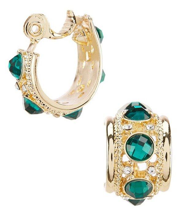 アンクライン レディース ピアス・イヤリング アクセサリー Green Stone Clip Hoop Earrings Green