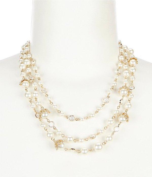 アンクライン レディース ネックレス・チョーカー アクセサリー Gold Pearl Crystal Multi Row Necklace Pearl