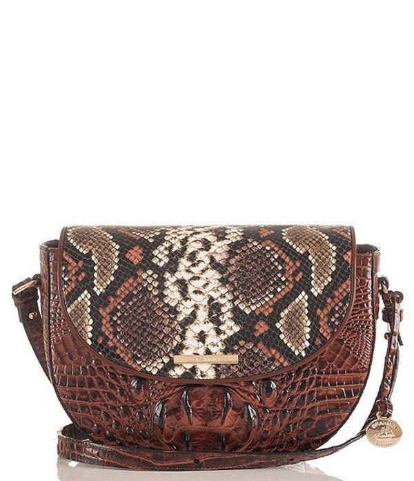 ブランミン レディース ショルダーバッグ バッグ Tybalt Collection Ella Snake Skin Crocodile-Embossed Crossbody Bag Pecan