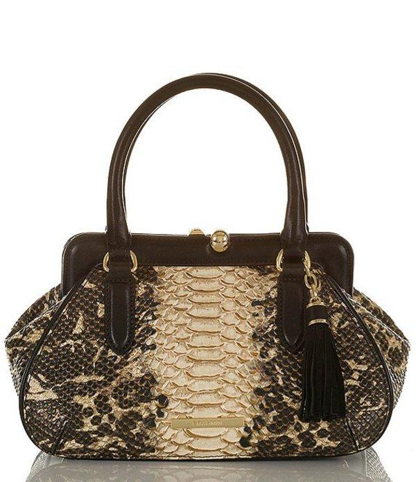 ブランミン レディース ハンドバッグ バッグ Mist Collection Mini Layla Leather Snake Skin Satchel Bag Espresso