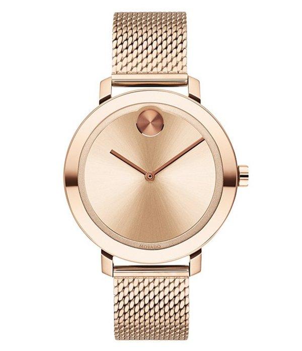 モバード レディース ブレスレット・バングル・アンクレット アクセサリー Evolution Rose Gold Stainless Steel Mesh Bracelet Watch Rose Gold