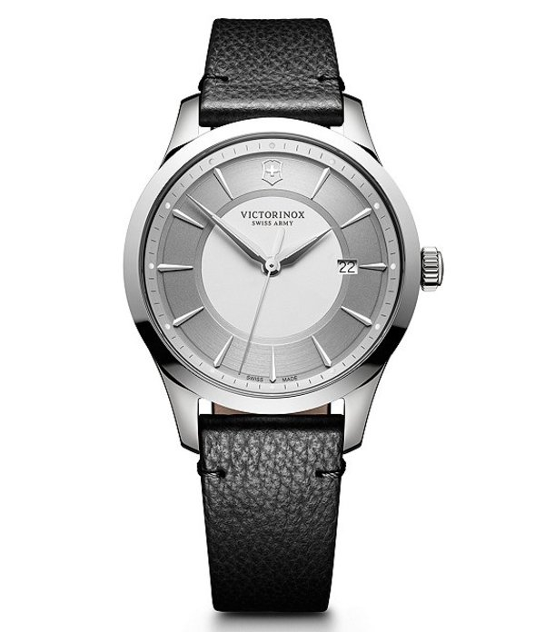 ビクトリノックス メンズ 腕時計 アクセサリー Victorinox Swiss Alliance Leather Strap Watch SILVER