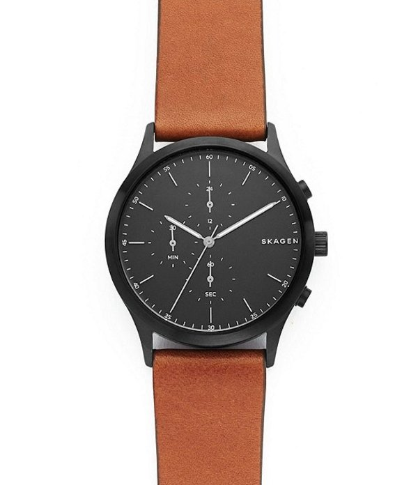 スカーゲン メンズ 腕時計 アクセサリー Jorn Brown Leather Chronograph Watch Brown