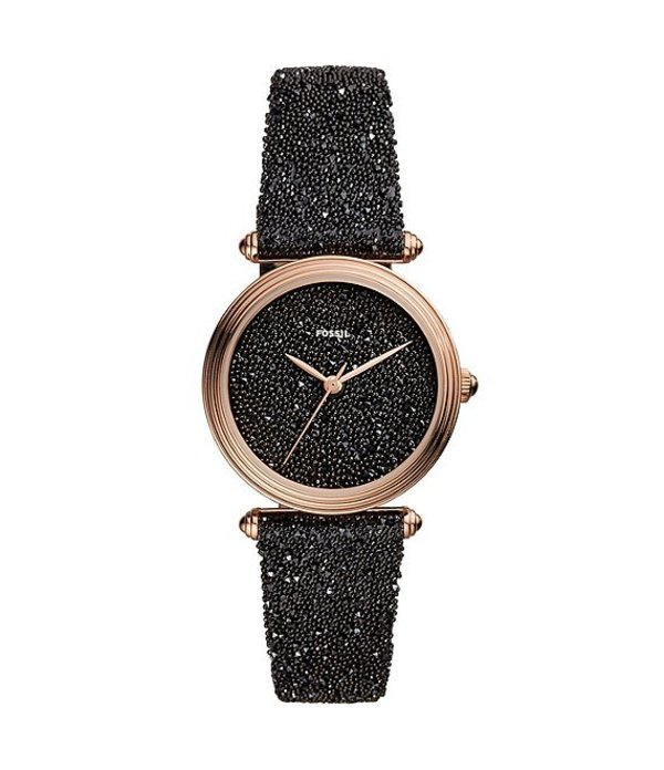 フォッシル レディース 腕時計 アクセサリー Limited Edition Lyric Three-Hand Black Fabric Watch Black