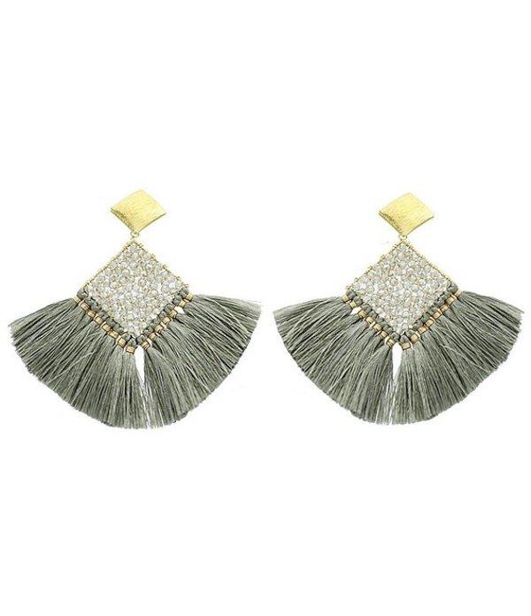 パナセラ レディース ピアス・イヤリング アクセサリー Diamond Shape Crystal Fan Earrings Light Grey