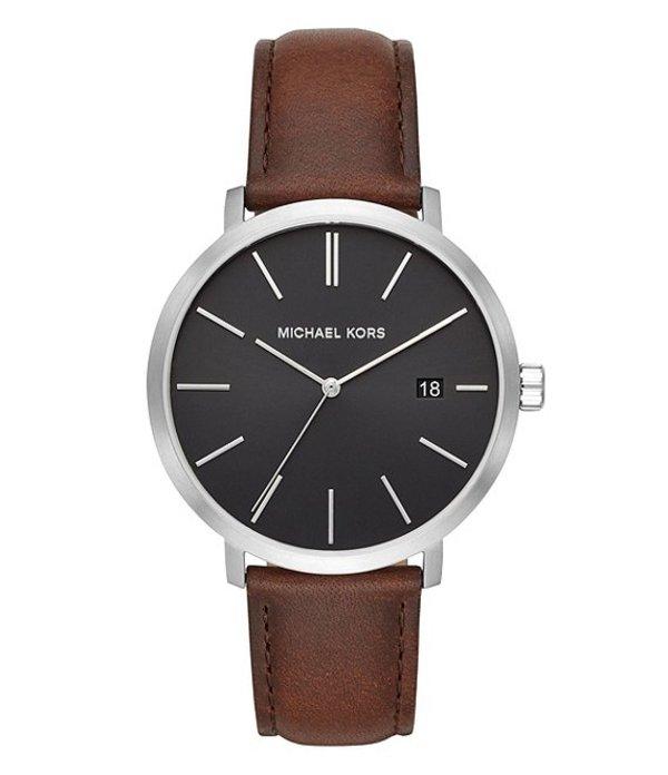 マイケルコース メンズ 腕時計 アクセサリー Men's Blake Three-Hand Brown Leather Strap Watch Brown
