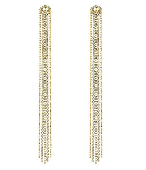 スワロフスキー レディース ピアス・イヤリング アクセサリー Fit Pierced Tassel Crystal Linear Earrings Gold