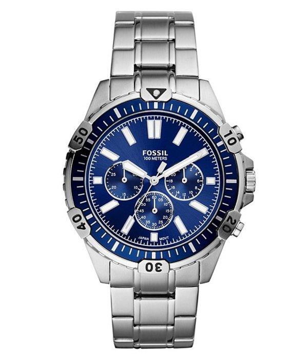 フォッシル メンズ 腕時計 アクセサリー Garrett Chronograph Silver-Tone Stainless Steel Watch Silver