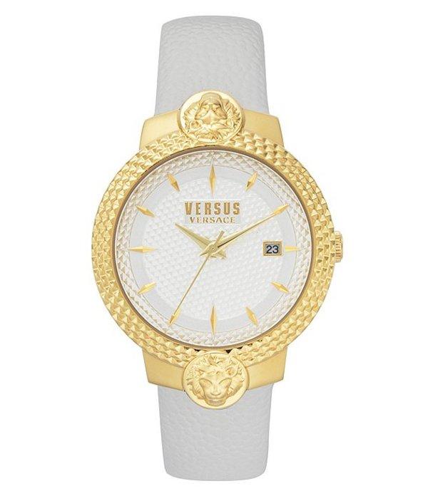 ヴェルサーチ レディース 腕時計 アクセサリー Versus By Versace Mouffetard Quartz Analog White Leather Watch White