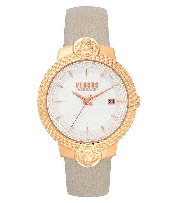 ヴェルサーチ レディース 腕時計 アクセサリー Versus By Versace Mouffetard Quartz Analog Beige Leather Watch Beige
