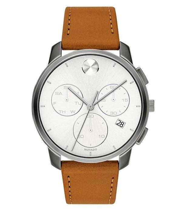 モバド メンズ 腕時計 アクセサリー Men's Bold Thin Brown Leather Watch Brown