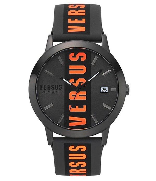 ヴェルサーチ メンズ 腕時計 アクセサリー Versus By Versace Barbes Quartz Analog Black & Neon Orange Silicone Watch Black