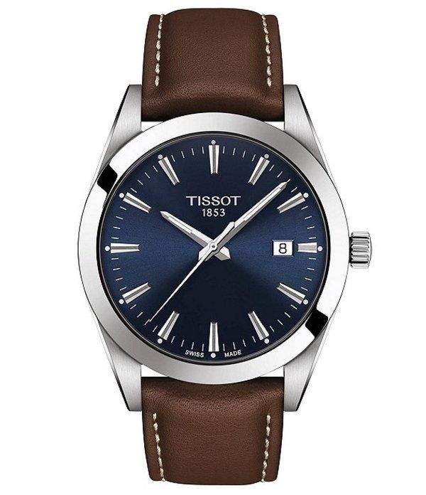ティソット メンズ 腕時計 アクセサリー Gentleman Brown Leather Watch Brown
