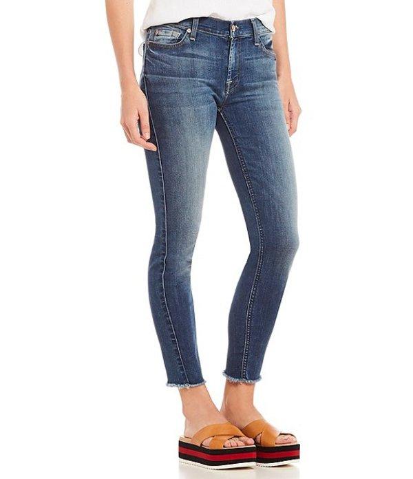 セブンフォーオールマンカインド レディース デニムパンツ ボトムス 7 For All Mankind Frayed Hem Skinny Ankle Jeans Rich Coastal Blue
